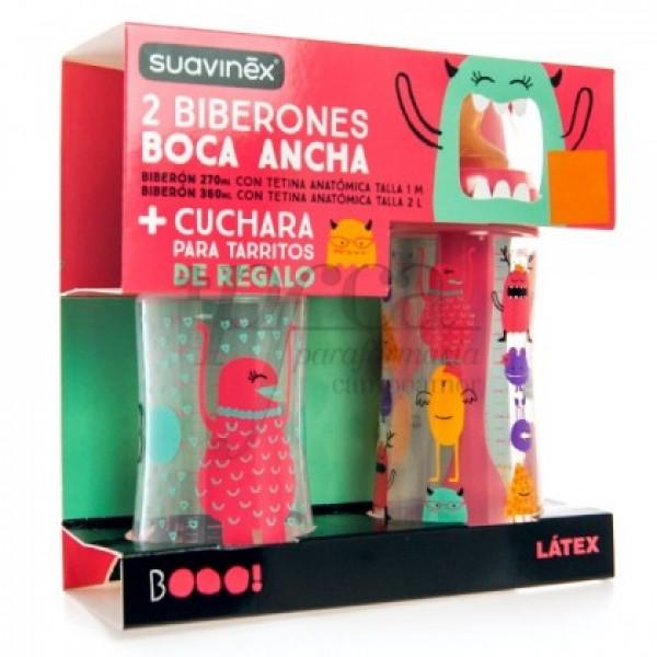 SUAVINEX 2 BIBERONES BOCA ANCHA + CUCHARA PROMO