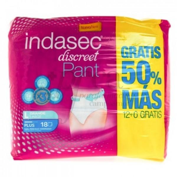 INDASEC DISCREET PANT PLUS T/GRANDE 12+6U PROMO