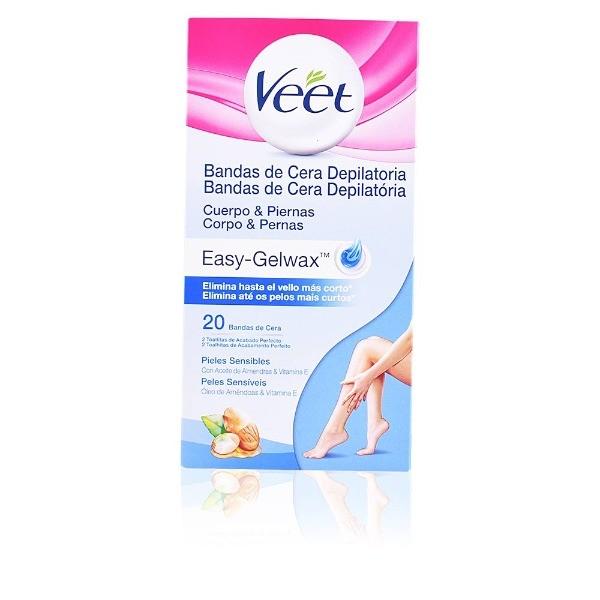 Veet bandas cera depilatoria Easy- Gelwax piel sensible  20 unidades