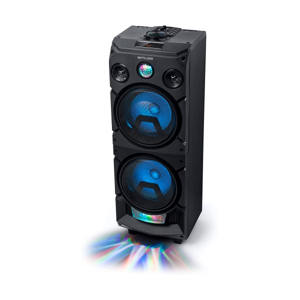 Muse m-1935 dj negro altavoz para fiestas 400w con bluetooth radio fm usb aux 2x micros