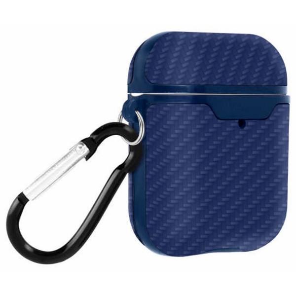 Akashi altairpodblu azul carcasa airpods 1 y 2 rídiga antihuellas con mosquetón