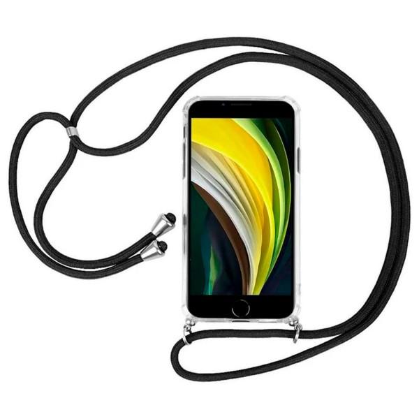 Akashi funda silicona transparente con cuerda antishock colgante apple iphone 7/8/se